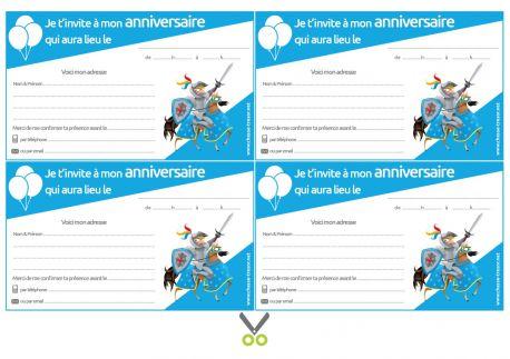 Invitations à imprimer pour anniversaire Chevaliers