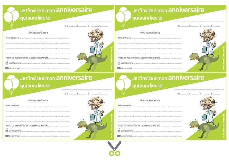 Invitations A Imprimer Pour Anniversaire Dinosaures Chasseotresor