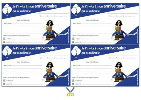 Invitations anniversaire à imprimer des 7 Pirates