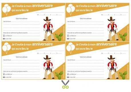 Invitations à imprimer pour anniversaire - Cow-Boys