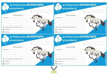 Invitations à imprimer pour anniversaire - Chevaux