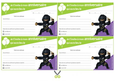 Invitations à imprimer pour anniversaire - Ninjas
