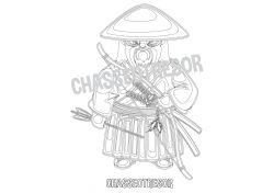 Coloriage pour enfant Samurai