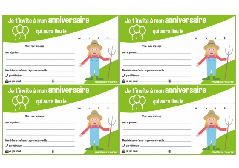 Bevorzugt Invitations à imprimer pour anniversaire - La Ferme - chasseOtresor EU48