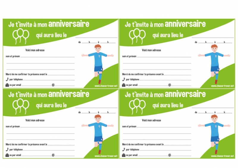 Invitations A Imprimer Pour Anniversaire Football Chasseotresor