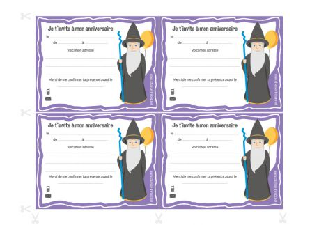 Invitations à imprimer pour anniversaire Magicien