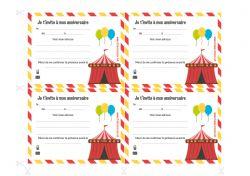 Invitations à imprimer pour un anniversaire cirque