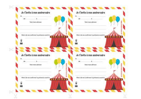 Invitations à imprimer pour anniversaire Cirque
