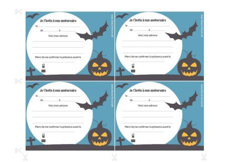 Invitations à imprimer pour un anniversaire sur le thème d'Halloween