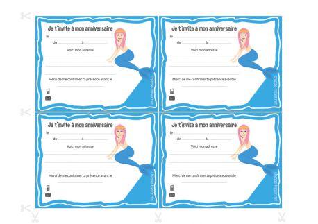 Invitations à imprimer pour anniversaire - Sirènes